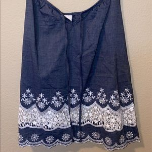 Denim lace tank top